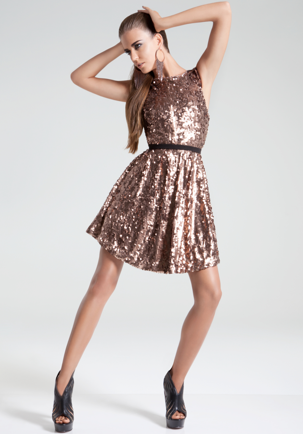 429edc02b757 Lyst Bebe Low Back Fit Flare Sequin Dress In Metallic