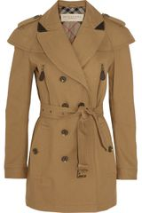 Burberry Brit Short Leather trimmed Cotton-twill Trench Coat - Lyst