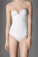 Burberry Corset Detail Swimsuit - Lyst