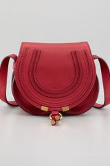 Chloé Marcie Mini Saddle Bag Peony Red - Lyst