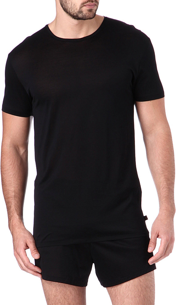 Derek Rose Lewis Mercerised Cotton T Shirt In Black For