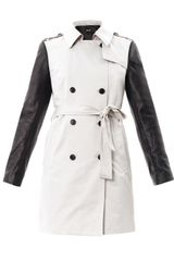 DKNY Leather Sleeve Trench Coat - Lyst