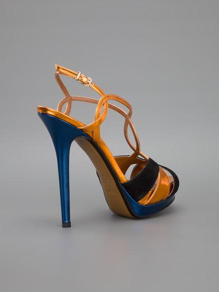 Fendi Strappy Sandal In Gold Black Lyst