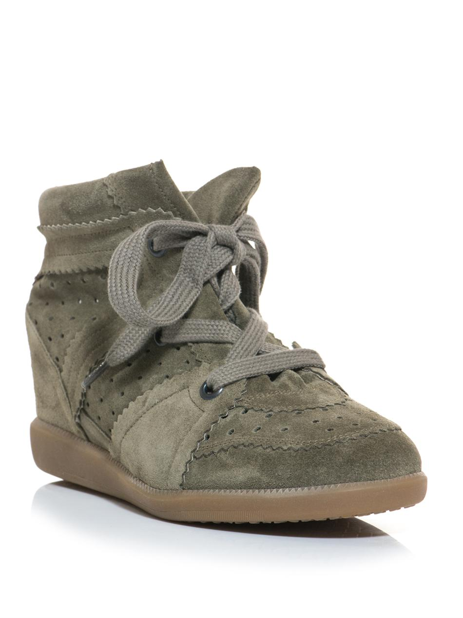 isabel marant bobby suede hidden wedge trainers in natural. Black Bedroom Furniture Sets. Home Design Ideas