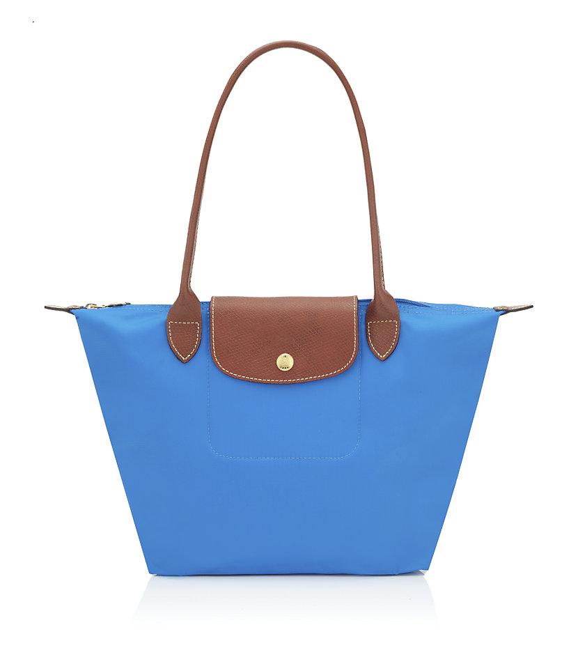 longchamp le pliage small shoulder bag in blue lyst. Black Bedroom Furniture Sets. Home Design Ideas