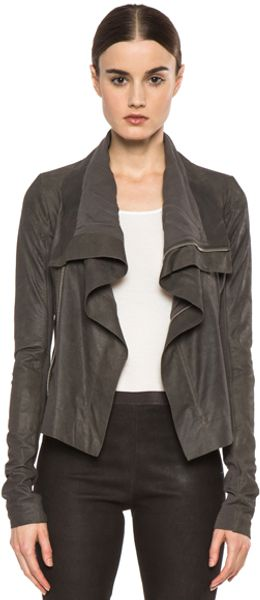 Rick Owens Classic Blistered Leather Biker Jacket in Gray - Lyst