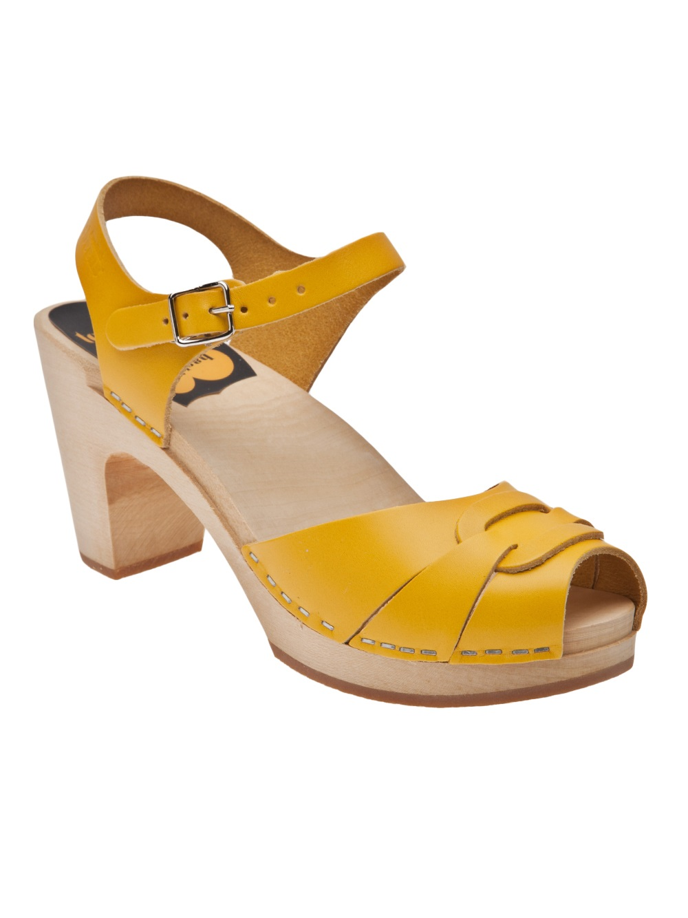 8e0a0151f27c Lyst - Swedish Hasbeens Peep Toe Super High Sandal in Yellow