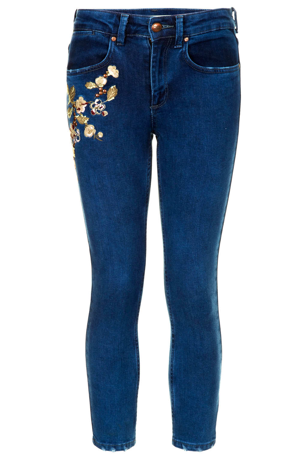 Topshop moto vintage embroidered jeans in blue lyst