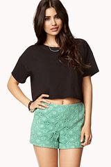 Forever 21 Highwaisted Macramaé Shorts - Lyst