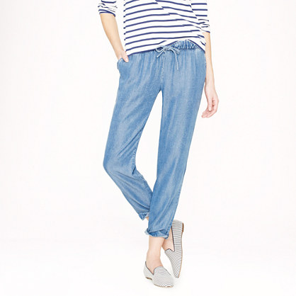Lightweight washed chambray pants in blue lyst for Chambray jeans