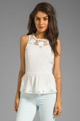 Line & Dot Embroidered Peplum Top in White - Lyst