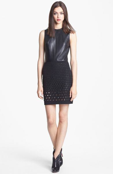 Robert Rodriguez Leather Grommeted Stretch Cotton Dress In