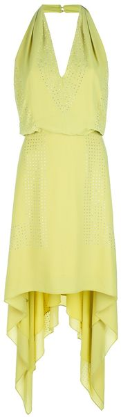 BCBGMAXAZRIA Beaded Halterneck Dress - Lyst