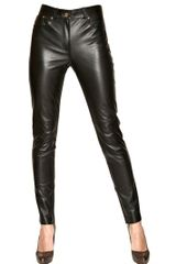 Ferragamo Nappa Leather Trousers - Lyst