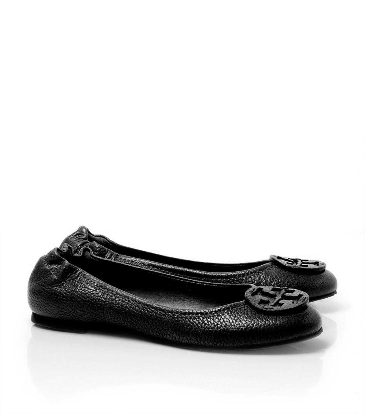 8d2289c367212 Lyst - Tory Burch Tumbled Leather Reva Ballet Flat in Black