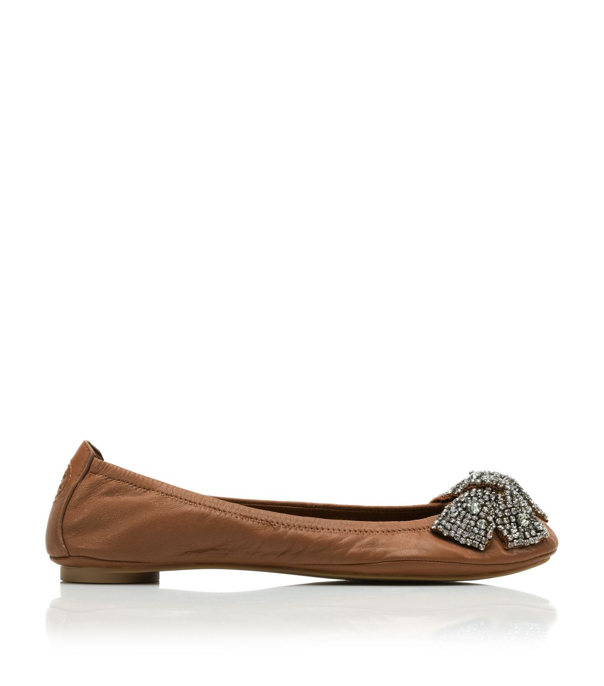 24134bb8f2d0 ... discount code for tory burch leather eddie bow ballet flat in brown lyst  8dbd7 853cb