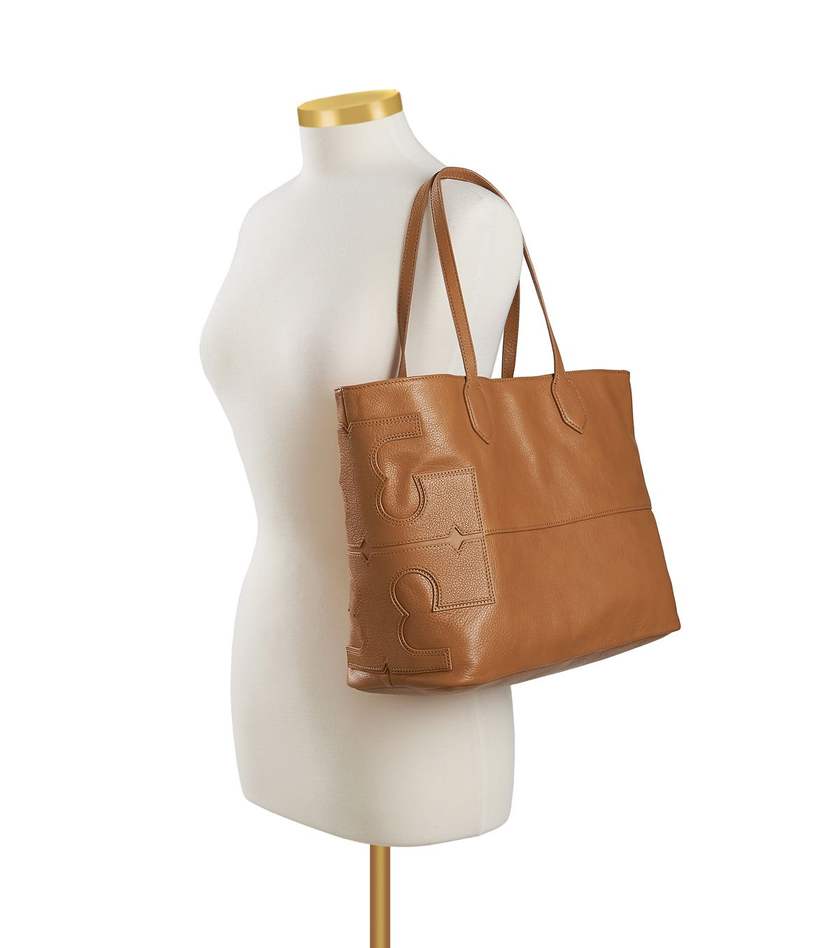 6bd7be353770 Lyst - Tory Burch Leather Stacked T Tote in Brown