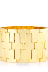 Tory Burch Wide T Metal Stretch Bracelet - Lyst