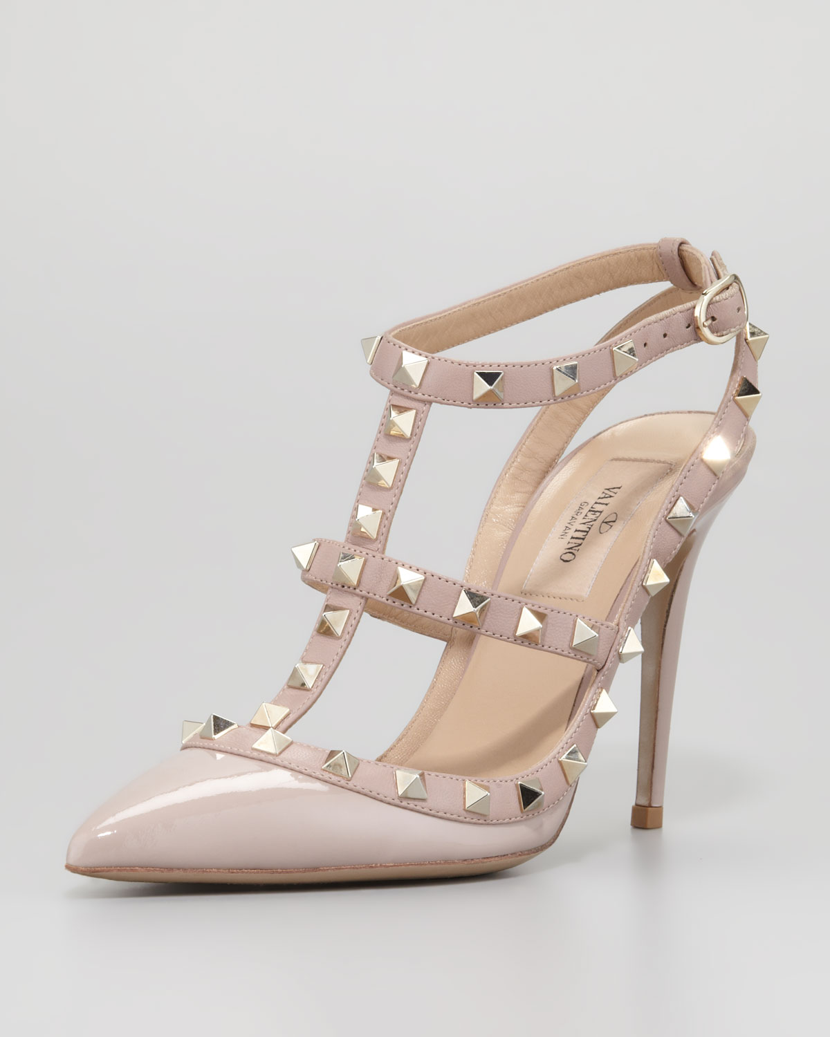 valentino rockstud patent tstrap pump poudre in pink blush lyst. Black Bedroom Furniture Sets. Home Design Ideas