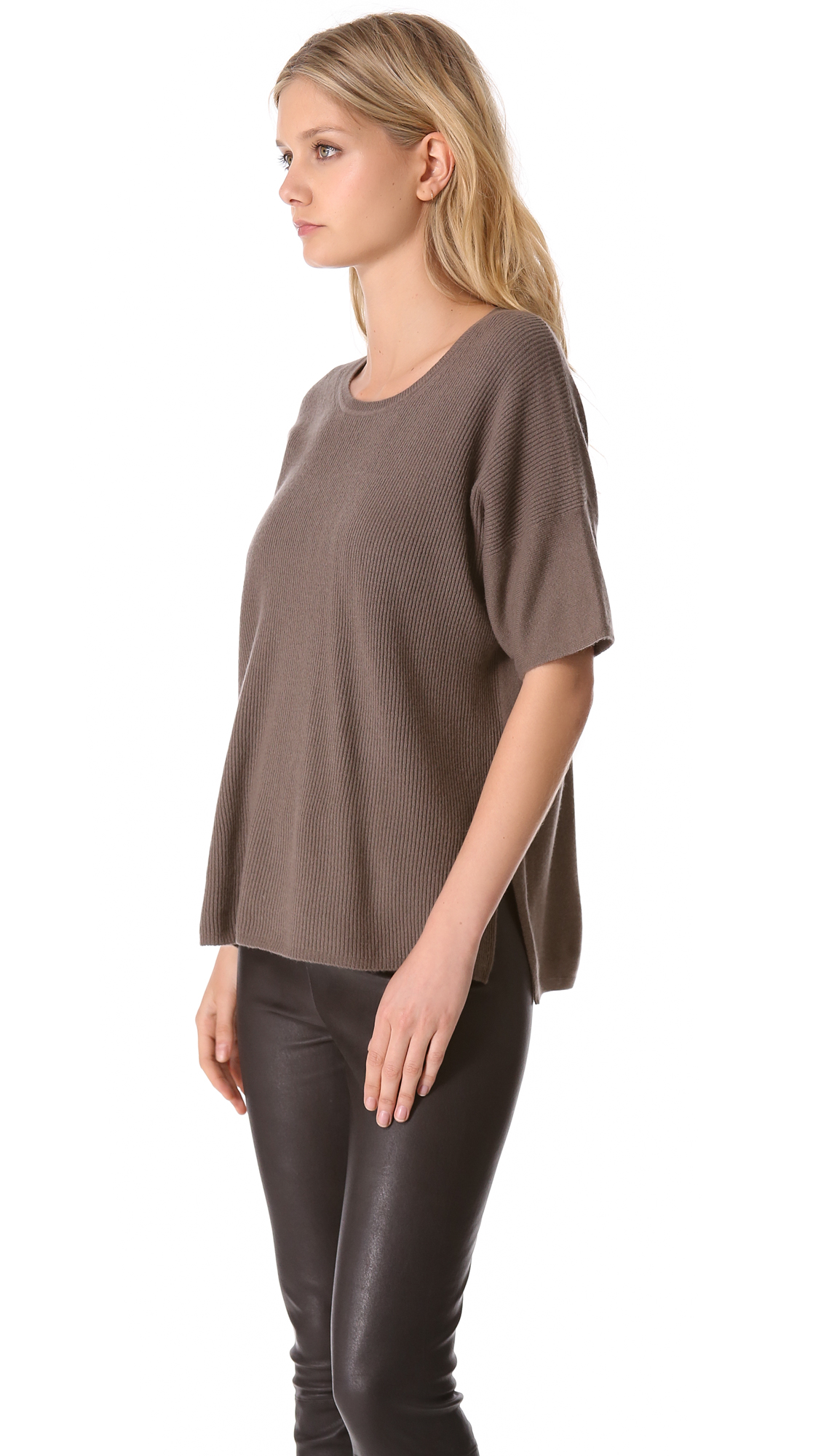 Vince Short Sleeve Cashmere Sweater in Gray | Lyst