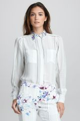 3.1 Phillip Lim Floralprint Striped Silk Blouse - Lyst