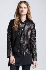 3.1 Phillip Lim Lambskin Leather Biker Jacket Charcoal - Lyst