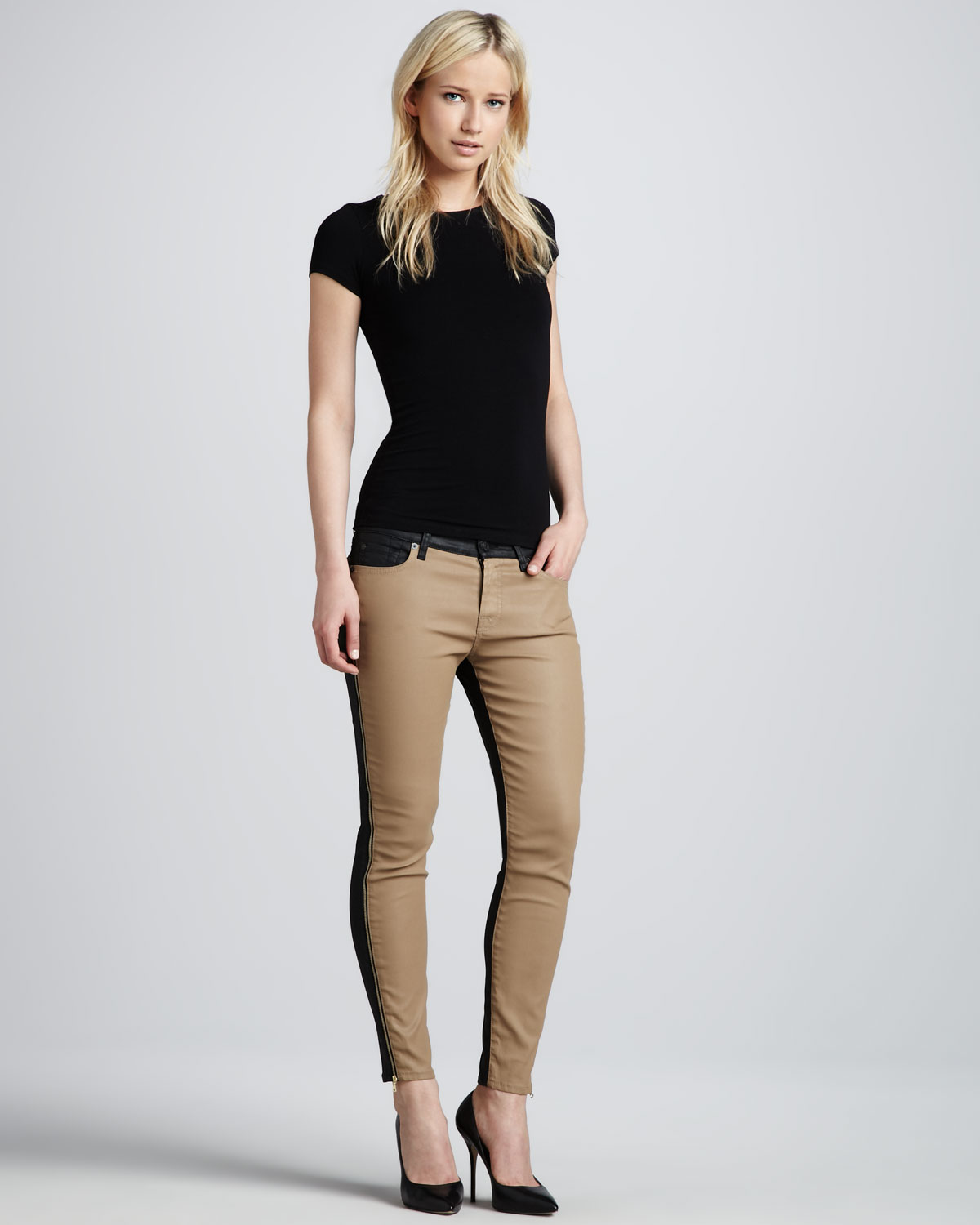 db1779cda5768 Lyst - 7 For All Mankind Two-tone Skinny Jeans in Natural