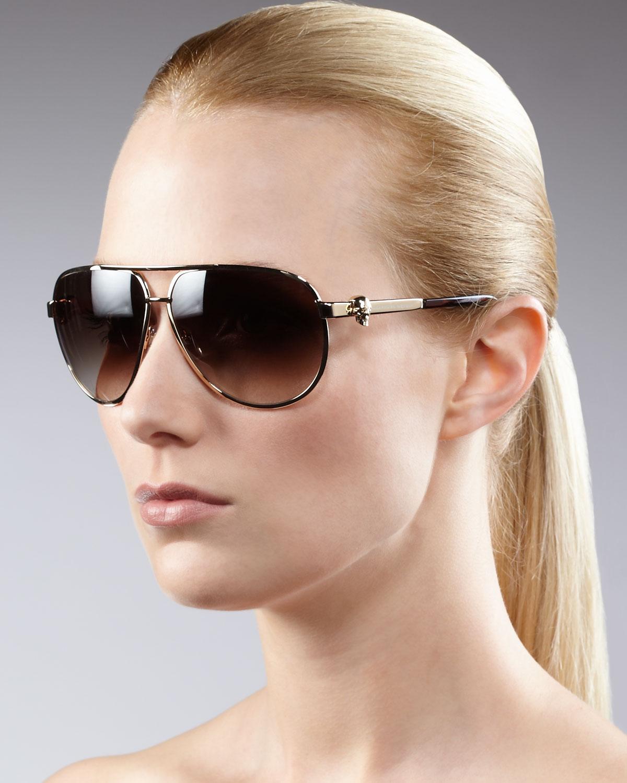 c2479e46caa11 Alexander McQueen Classic Aviator Sunglasses in Black - Lyst