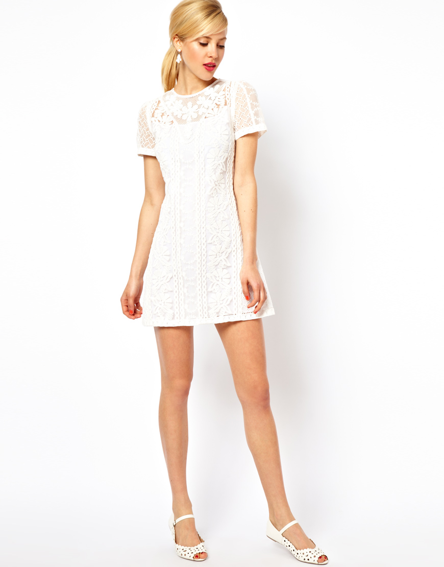 Asos Petite Exclusive Embroidered Beaded Mini Shift Dress in White ...