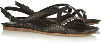 Bottega Veneta Chain Trimmed Leather Sandals - Lyst