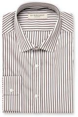 Burberry Brown Slim Fit Striped Cotton Shirt - Lyst
