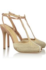 Charlotte Olympia Mae West Woven and Satin Sandals - Lyst