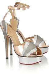 Charlotte Olympia Decodent Metallic Leather Sandals - Lyst