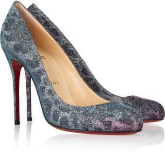 Christian Louboutin Fifi 100 Leopardpatterned Lamé Pumps - Lyst