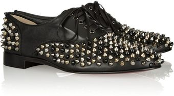 Christian Louboutin Freddy Spiked Leather Brogues - Lyst