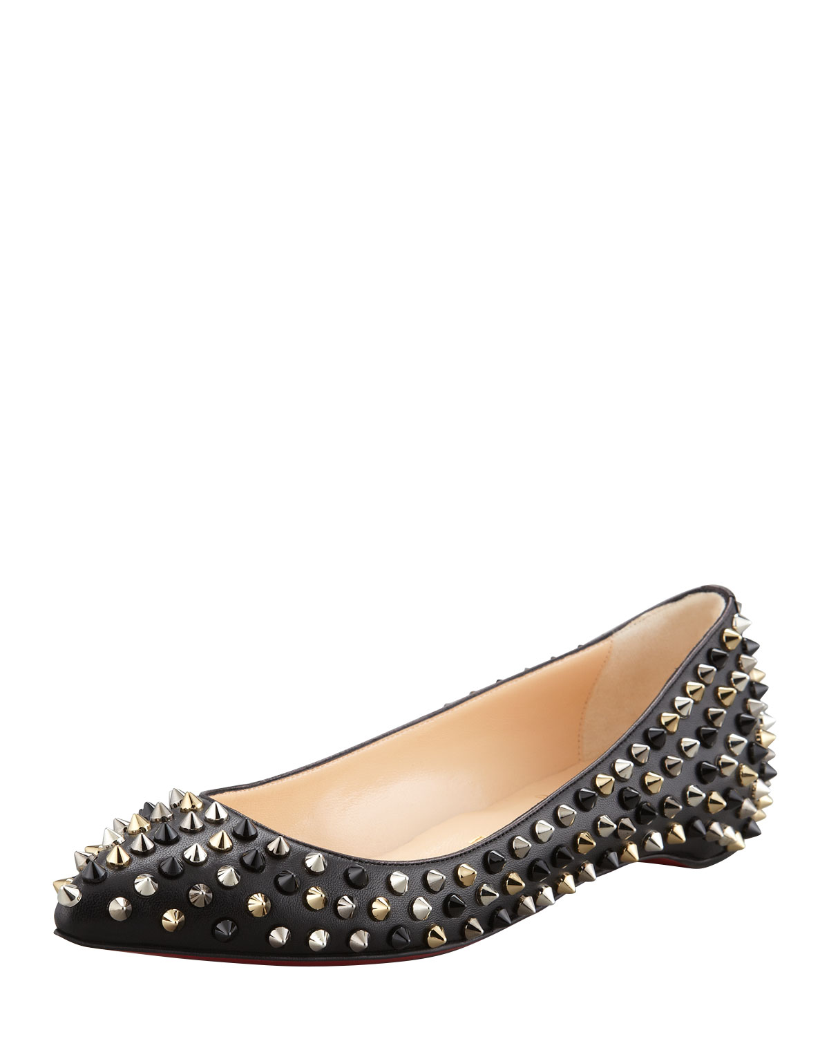 39778b473d Lyst - Christian Louboutin Pigalle Spikes Pointtoe Red Sole Flat ...