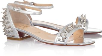 Christian Louboutin Druide Studded Mirrored Leather Sandals - Lyst