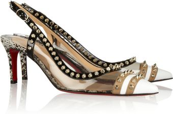 Christian Louboutin Manovra 70 Studded Leather and Pvc Slingback Pumps - Lyst