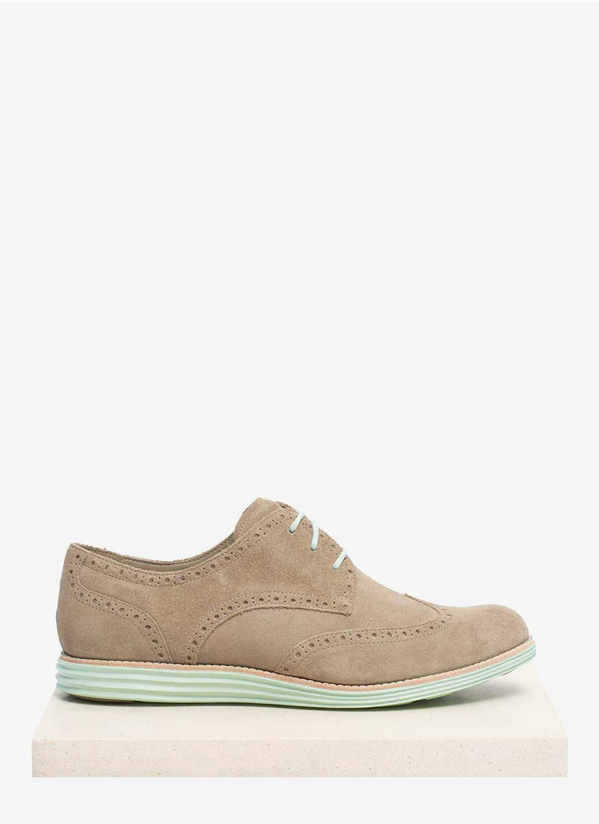 cole haan lunargrand suede wingtip shoes in gray lyst