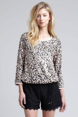 Diane Von Furstenberg Kavita Metallic Sequined Top - Lyst