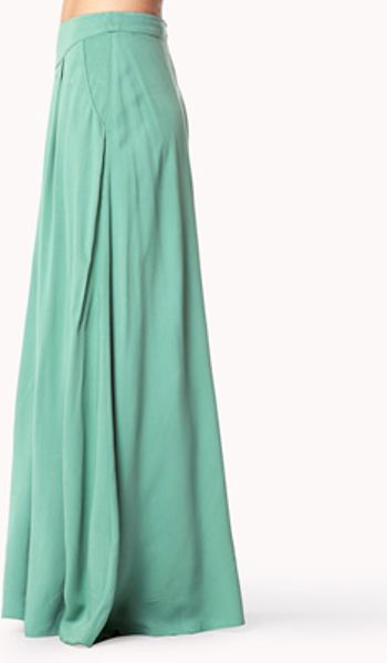forever 21 pleated maxi skirt in green sea green lyst