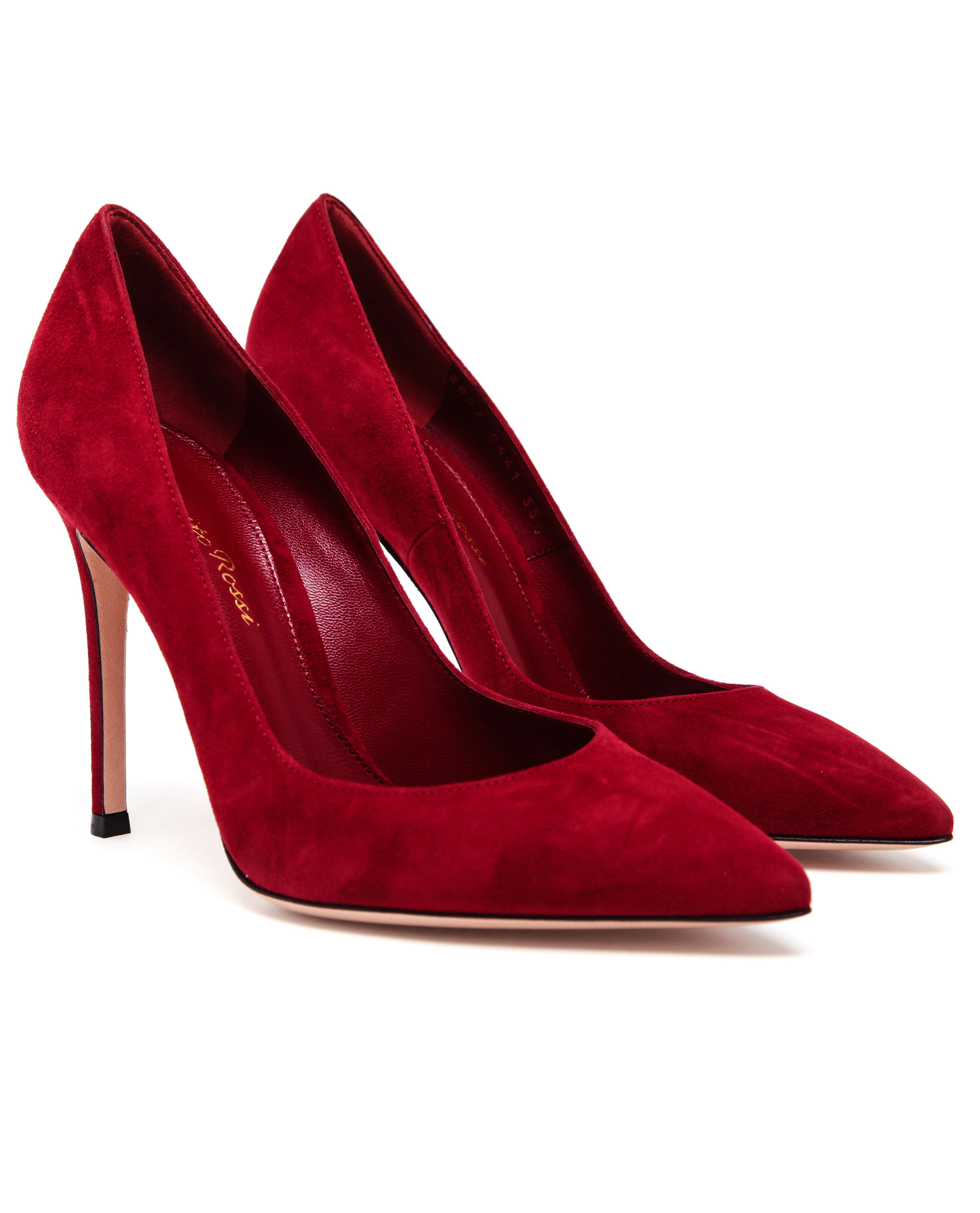 Gianvito Rossi Suede Pointed Pumps In Red Lyst