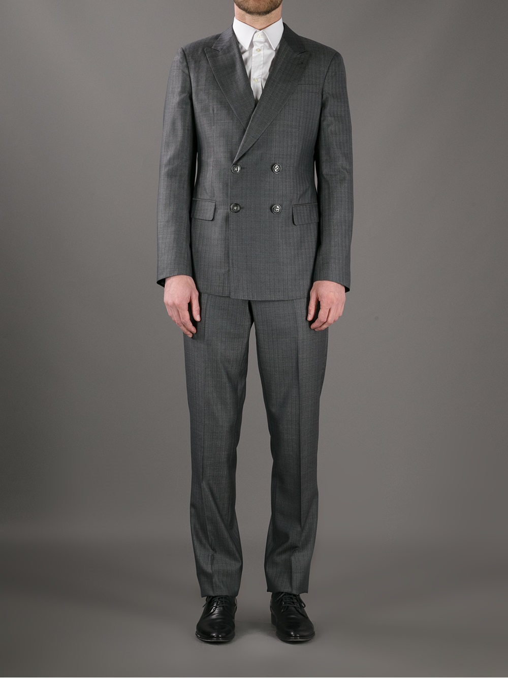Giorgio armani Pinstripe Double Breasted Suit in Gray for Men | Lyst