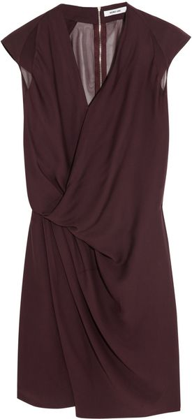 Helmut Lang Chiffon Trimmed Washed Satin Dress - Lyst