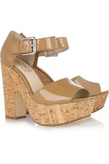 Kors By Michael Kors Korey Patent Leather and Cork Sandals - Lyst