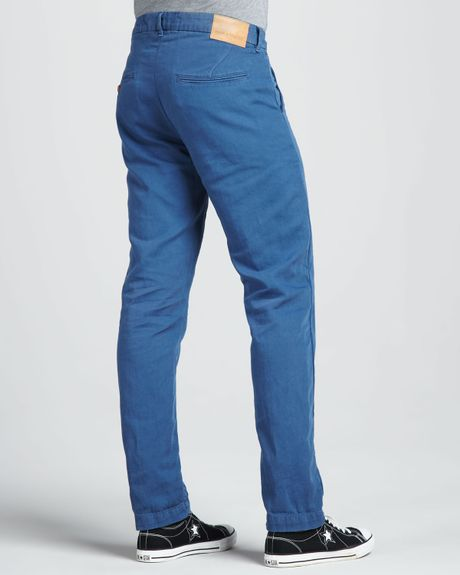 Levi 39 s spoke cottonlinen chino pants in blue for men for Levis made and crafted spoke chino