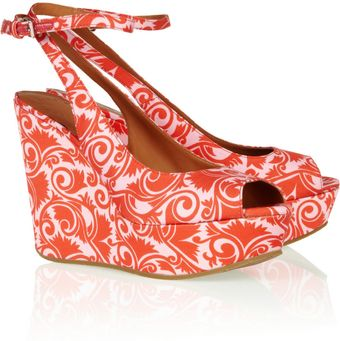 Marc By Marc Jacobs Printed Mattesatin Wedge Sandals - Lyst