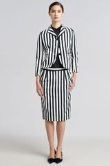 Marc Jacobs Striped Techno Twill Pencil Skirt - Lyst