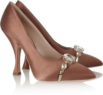 Miu Miu Jewel Embellished Satin Pumps - Lyst