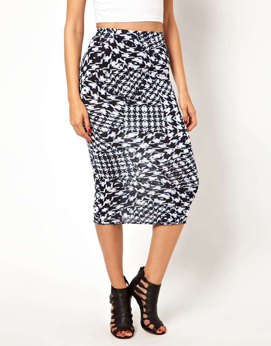 pepe oh my midi pencil skirt in black multi